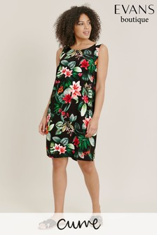 Evans Curve Tropical Print Pinny Dress
