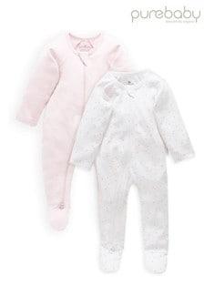 Purebaby Pink Organic Cotton Zip Growsuits 2 Pack