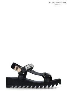 Kurt Geiger London Black Orion Flat Leather Sandals
