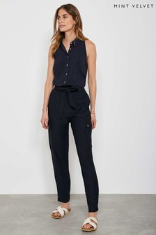 Mint Velvet Navy Belted Utility Trousers