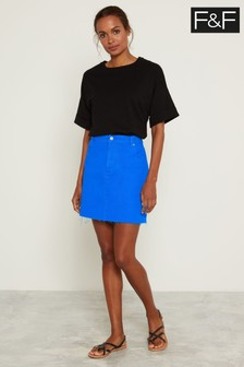 F&F Blue Cobalt Denim Skirt