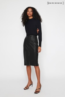 Warehouse Black Faux Leather Pencil Skirt