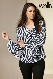 Wallis Blue Ink Zebra Flute Sleeve Shirt