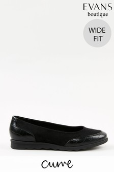Evans Curve Wide Fit Black Comfort Flat Shoes