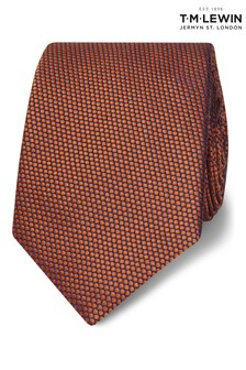 T.M. Lewin Orange Birdseye Silk Slim Tie
