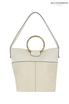 Accessorize Cream Croc Ring Shoulder Bag