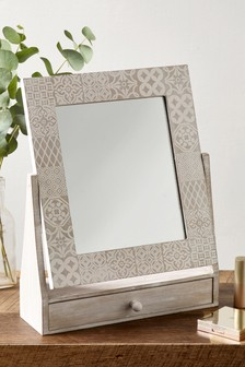 Etched Tile Print Vanity Mirror