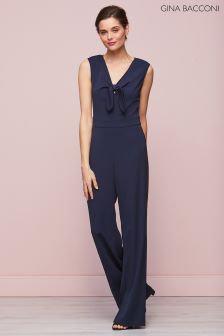 Gina Bacconi Navy Cleo Bow Detail Jumpsuit