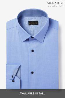 Signature Regular Fit Single Cuff Textured Shirt With Trim Detail