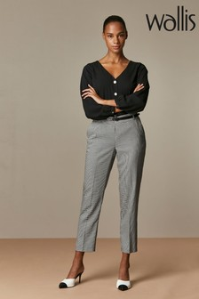 Wallis Black Mono Gingham Belted Tapered Trousers