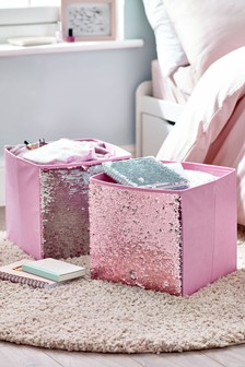 Set of 2 Sequin Storage Boxes