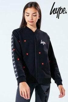 Hype. Kids Black Love Heart Jersey Bomber Jacket