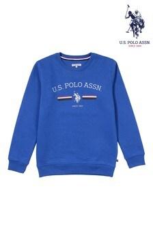 U.S. Polo Assn Blue Stripe Rider Crew Sweat Top