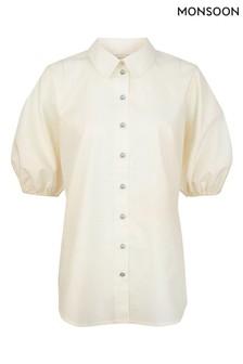 Monsoon White Hoxley Plain Cotton Shirt