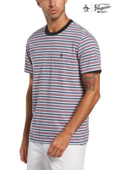 Original Penguin Blue Yarn Dye Multi Stripe T-Shirt