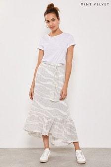 Mint Velvet White Spot Print Boho Skirt