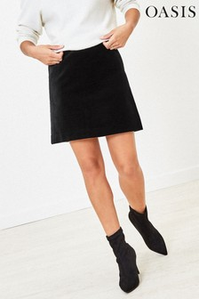Oasis Black Velvet Mini Skirt