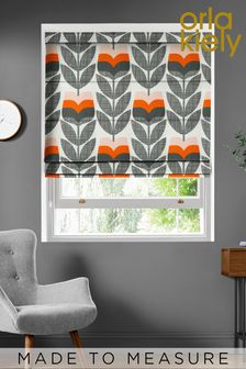 Rose Bud Orange Made To Measure Roman Blind by Orla Kiely