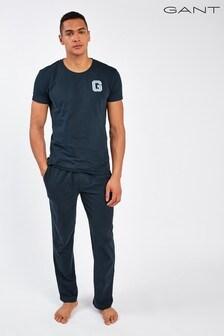 Синий трикотажный пижамный комплект Gant
