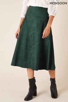 Monsoon Green Suedette Sustainable Skirt