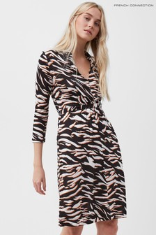 French Connection Black Thita Iger Tiger Medjrsy Dress