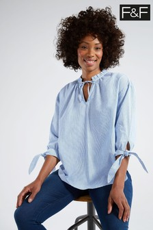 F&F Multi Blue Lurex Stripe Upspec Popover Shirt