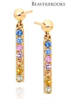 Beaverbrooks 9ct Gold Multicoloured Sapphire Drop Earrings