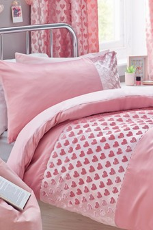 Velvet Heart Panel Duvet Cover And Pillowcase Set