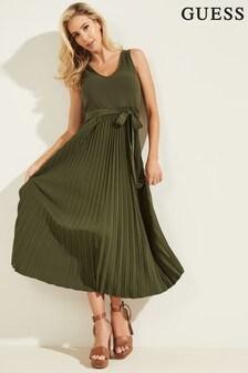 Guess Khaki Erynn Pleated Dress