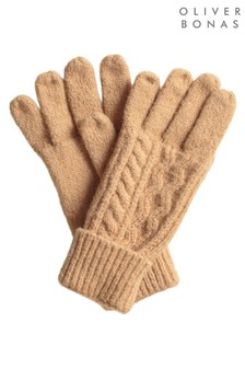 Oliver Bonas Cable Camel Knitted Gloves