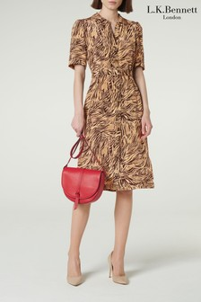 L.K.Bennett Brown Irenie Silk Shirt Dress