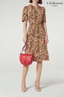 L.K.Bennett Brown Irenie Silk Shirt Dress