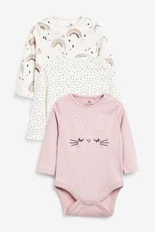 3 Pack Bunny Long Sleeve Bodysuits (0mths-3yrs)