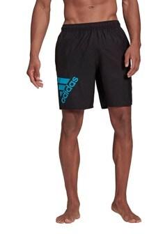 adidas Classic Black Badge of Sport Logo Swim Shorts