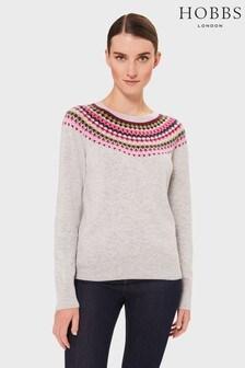 Hobbs Grey/Pink Lime Greta Fairisle Pattern Sweater