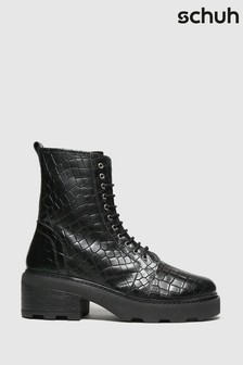 Schuh Black Arvid Croc Leather Lace-Up Boots