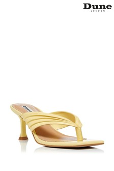 Dune London Yellow Marbelle Toe Post Mules