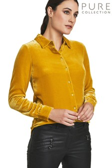 Pure Collection Yellow Silk Velvet Shirt