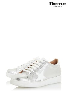 Dune London Silver Edris Metallic Star Lace-Up Trainers