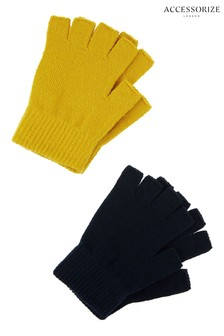 Accessorize Black Fingerless Rec Gloves Two Pack