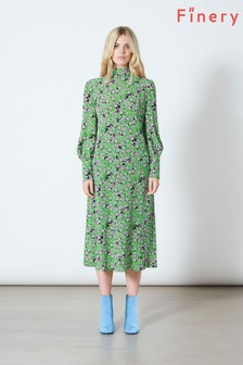 Finery London Green Isla Long Sleeve High Neck Dress In Dabble Ditsy