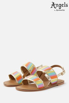 Angels By Accessorize Gold Rainbow Stripe Sandals