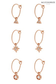 Accessorize Pink Charmy Hoops Three Pack