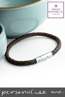 Personalised Cedar Woven Bracelet by Treat Republic