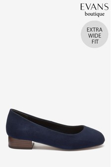 Evans Blue Extra Wide Fit Square Toe Low Heels