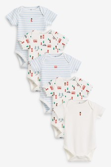 5 Pack Bus Print Short Sleeve Bodysuits (0mths-3yrs)
