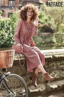 Růžové polodlouhé šaty FatFace Joyce s tahy štětcem