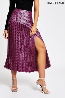 River Island Pink Maggie Pleated Skirt