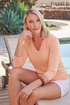Pure Collection Pink Cashmere V-Neck Sweater