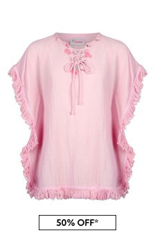 Selini Action Girls Pink Cotton Kaftan